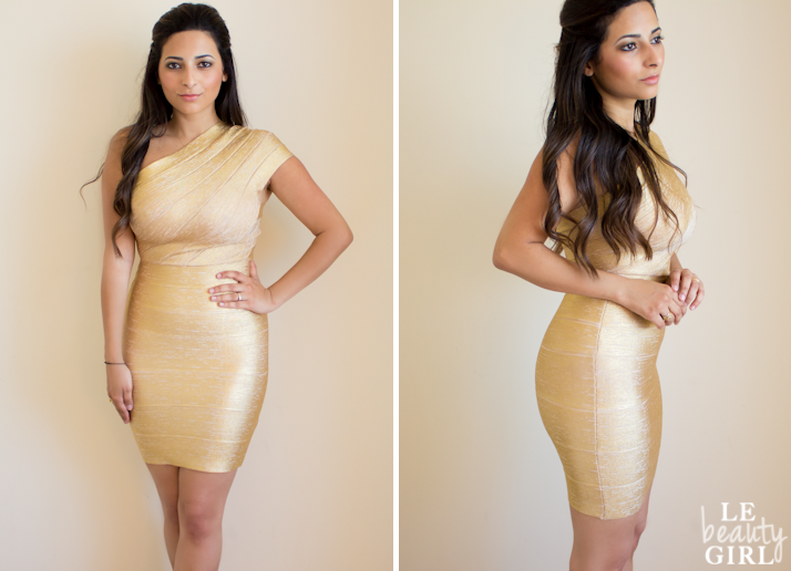 Style Me Celeb Amy Childs Gold Bandage Dress